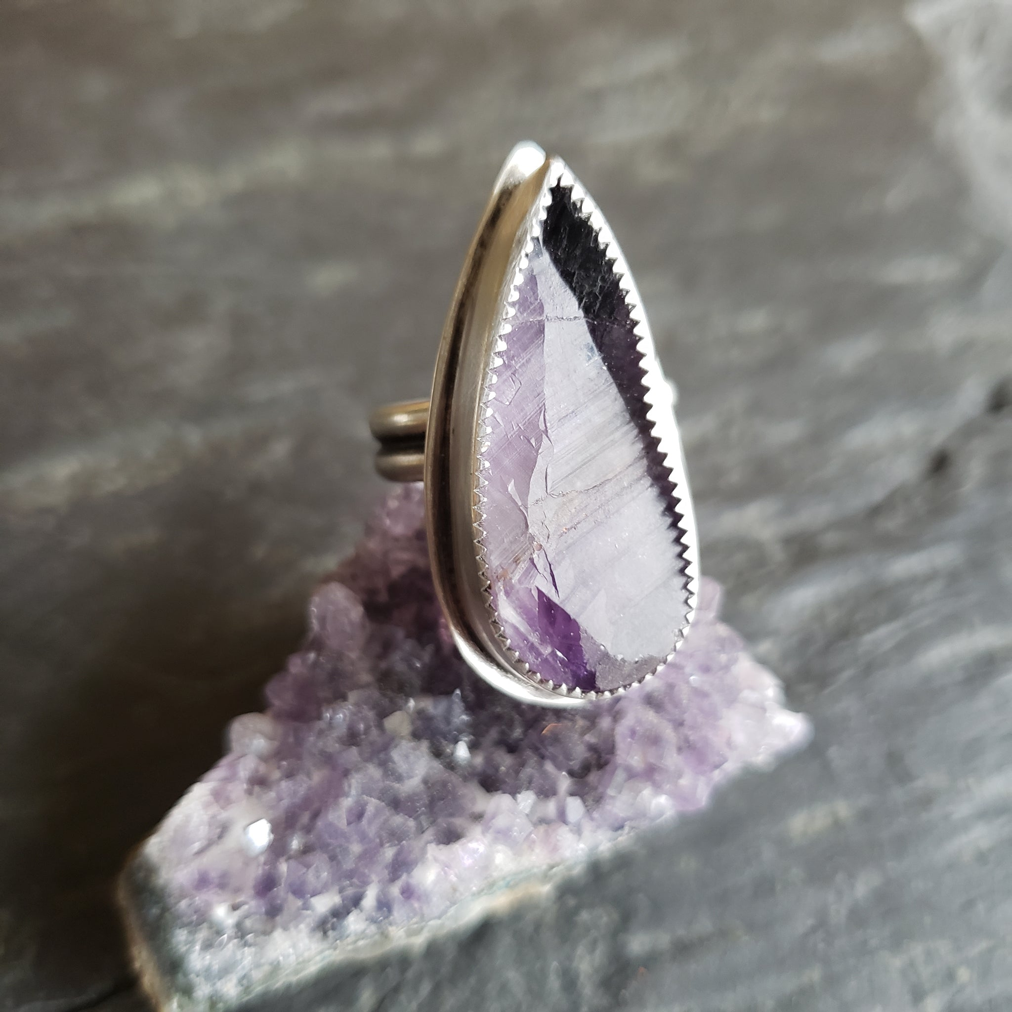 Rough Cut Amethyst Ring in Sterling Silver Size 7.25
