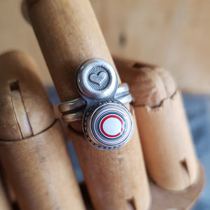 Fordite Bullseye & Stamped Heart Ring in Sterling Silver Size 6.75