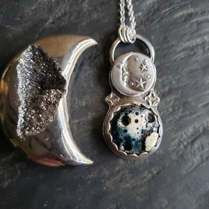 Two Moons Pendant in Sterling Silver