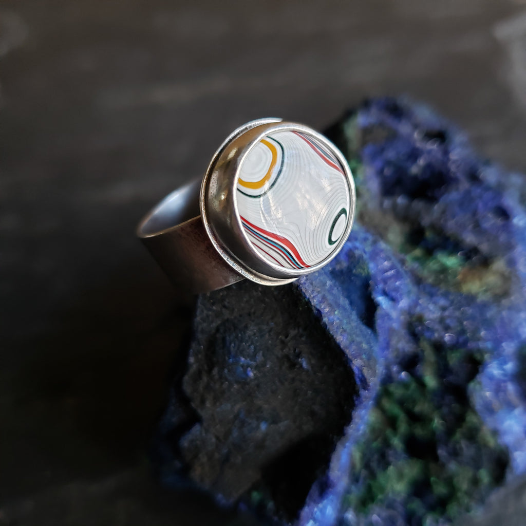 Fordite Swirls Ring in Sterling Silver Size 10