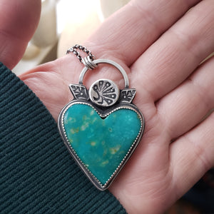 Turquoise Heart Pendant in Sterling Silver