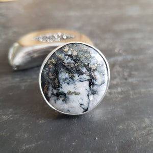 Mohawkite Gemstone Ring in Sterling Silver Size 6.5 - 7.5