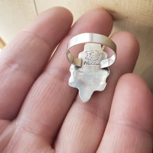 Cupid's Arrow Blue Opal Heart Ring in Sterling Silver Size 6.5