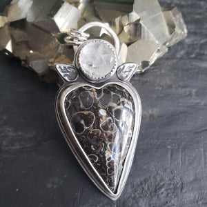 Turitella (Snail) Agate Heart Pendant with Herkimer Diamond Point in Sterling Silver