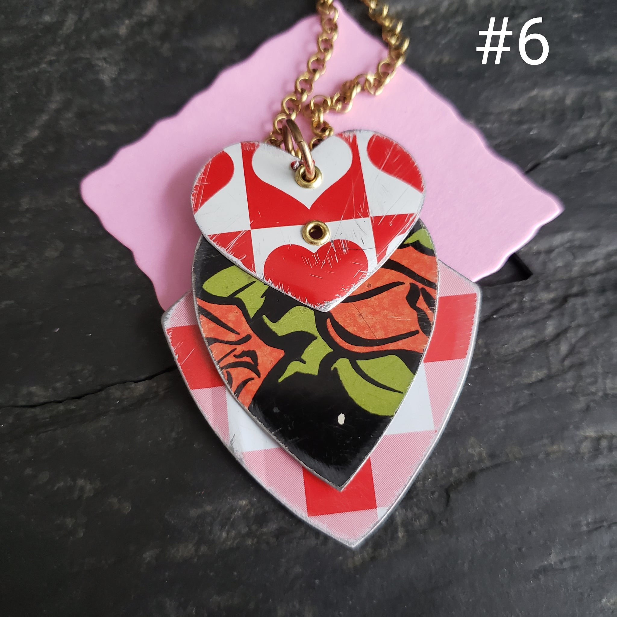 Valentine's Necklace Collection - Repurposed Vintage Tin Jewelry