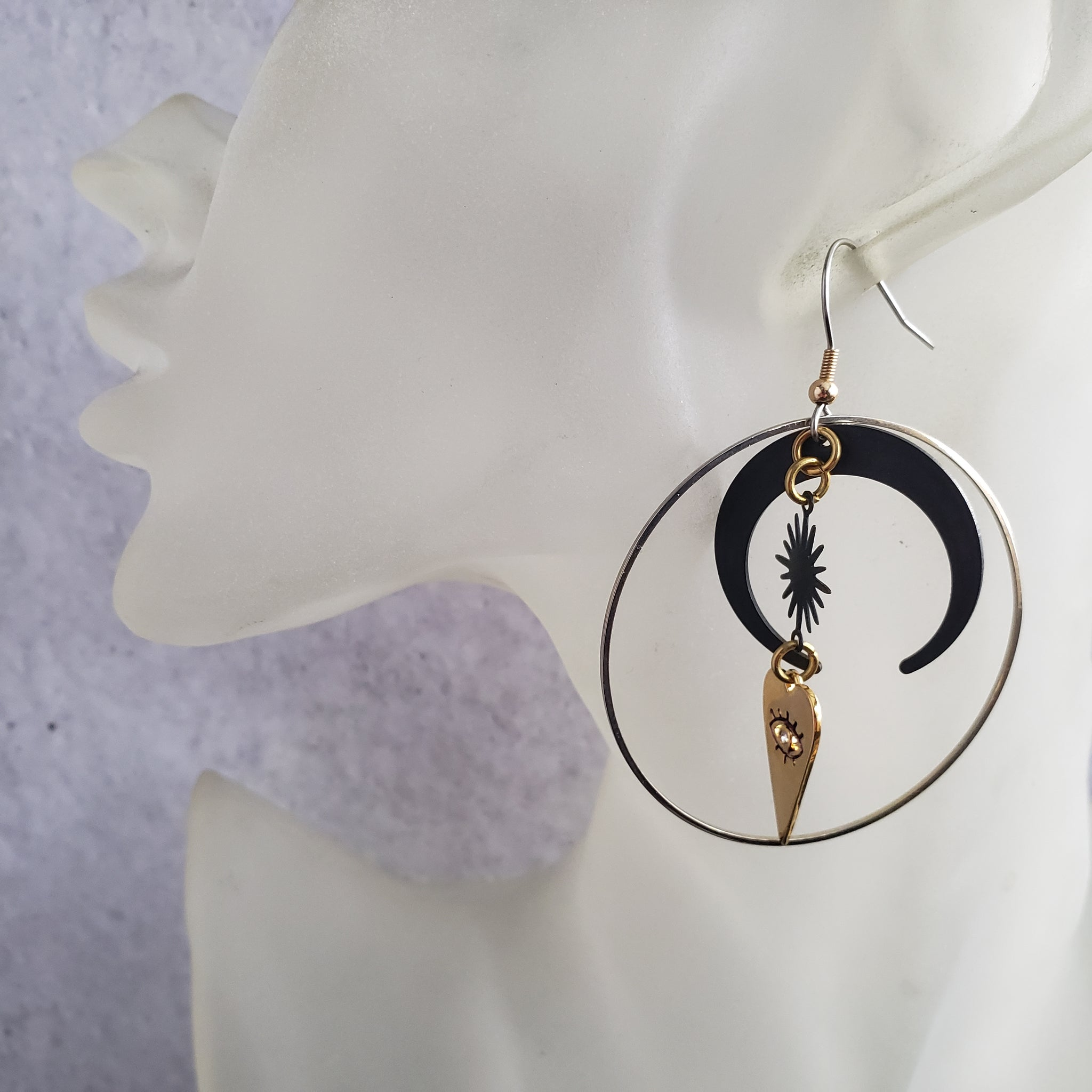 Elemental Metals Collection ◇ Eye♡You ◇ Celestially-Inspired Brass Earrings