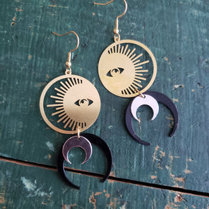 Elemental Metals Collection ◇Sun Priestess◇ Celestially-Inspired Brass Earrings
