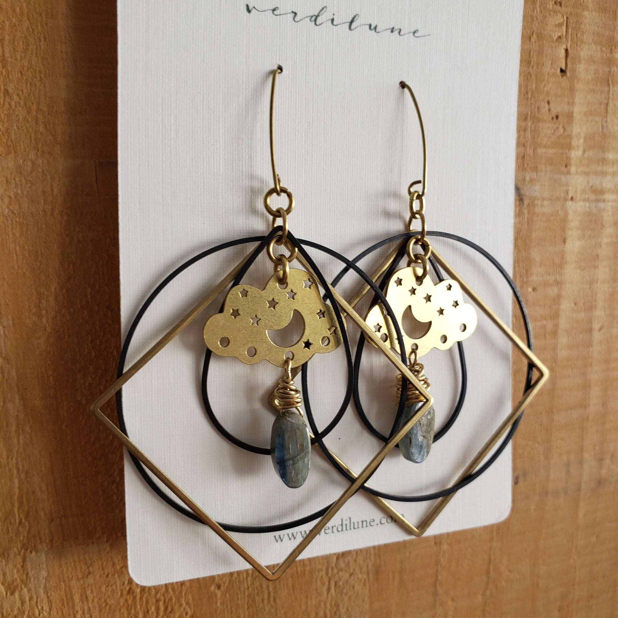 Elemental Metals Collection ◇ Cloudy Night Sky◇ Celestially-Inspired Brass Earrings
