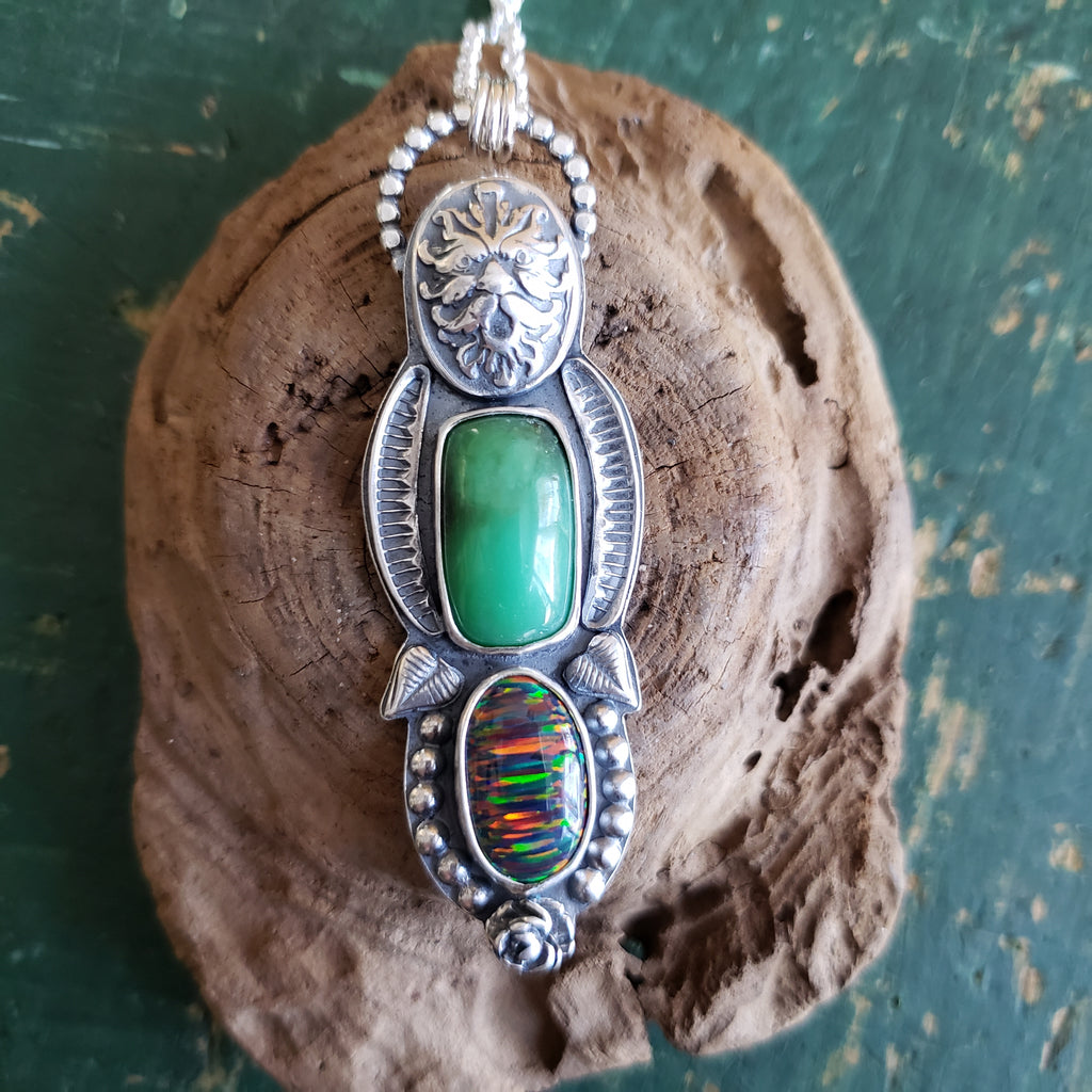 Green Man Pendant with Gem Chrysoprase & Aura Opal in Sterling Silver