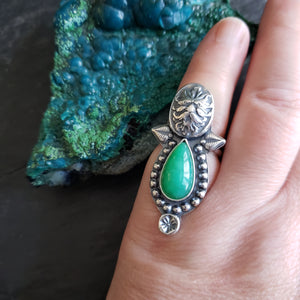 Green Man Ring with Gem Chrysoprase in Sterling Silver Size 7