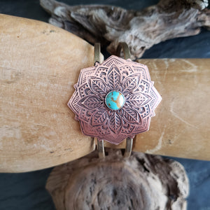 Copper Mandala Cuff with Turquoise