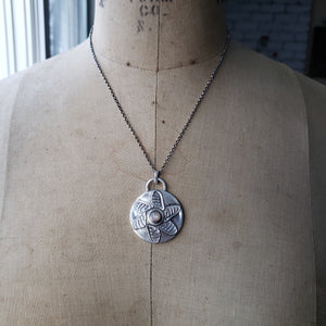 Ophelié Reversible Mandala Pendant with Peach Moonstone  in Sterling Silver
