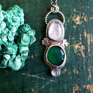 The St. Patrick's Collection - Green Onyx & Moonstone Shamrock Pendant in Sterling Silver