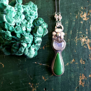 The St. Patrick's Collection - Green Glass Slag Shamrock Pendant with Moonstone in Sterling Silver