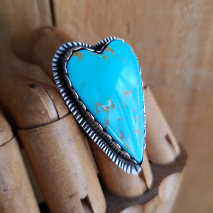 Jumbo Turquoise Heart Ring in Sterling Silver Size 7
