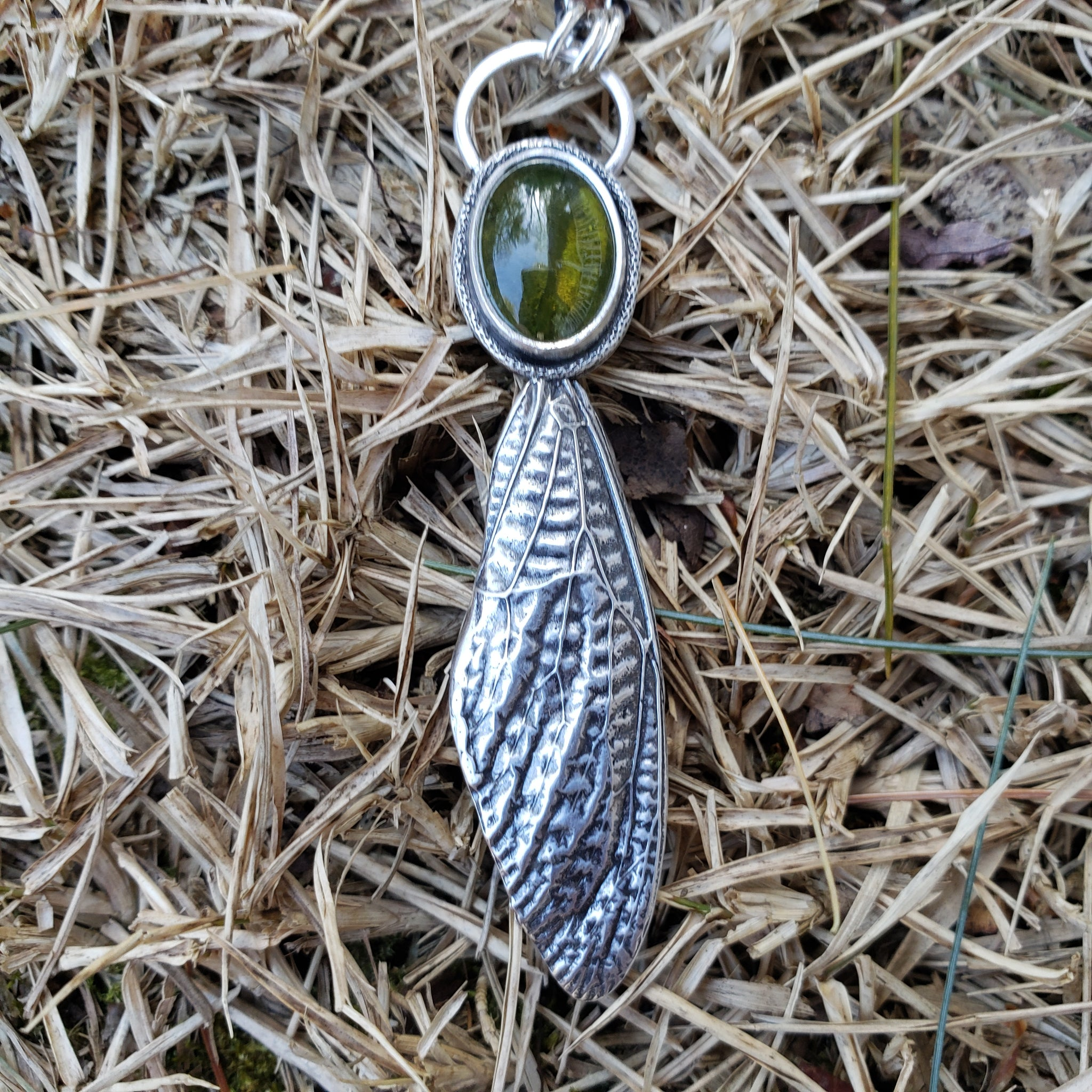Cicada Wing Pendant with Vesuvianite in Sterling Silver