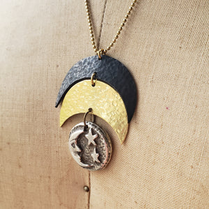Elemental Metals Collection ◇ Moon Man ◇ Celestially-Inspired Brass Pendant