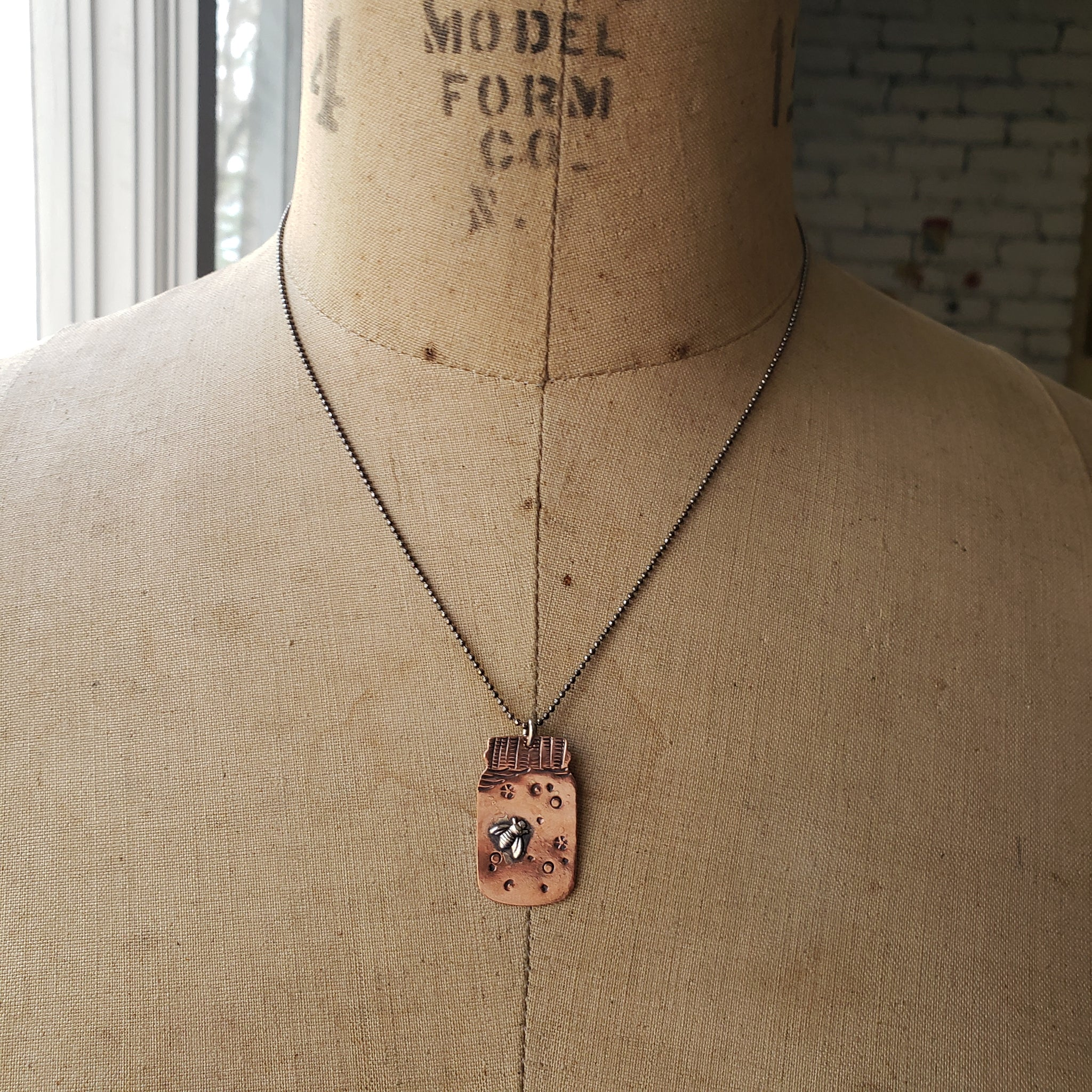 Bees in a Mason Jar Pendant in Copper