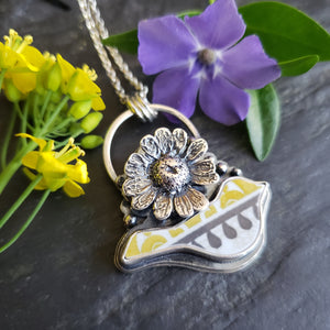 Beautifully Broken Daisy Bird Necklace - Upcycled China in Sterling Silver