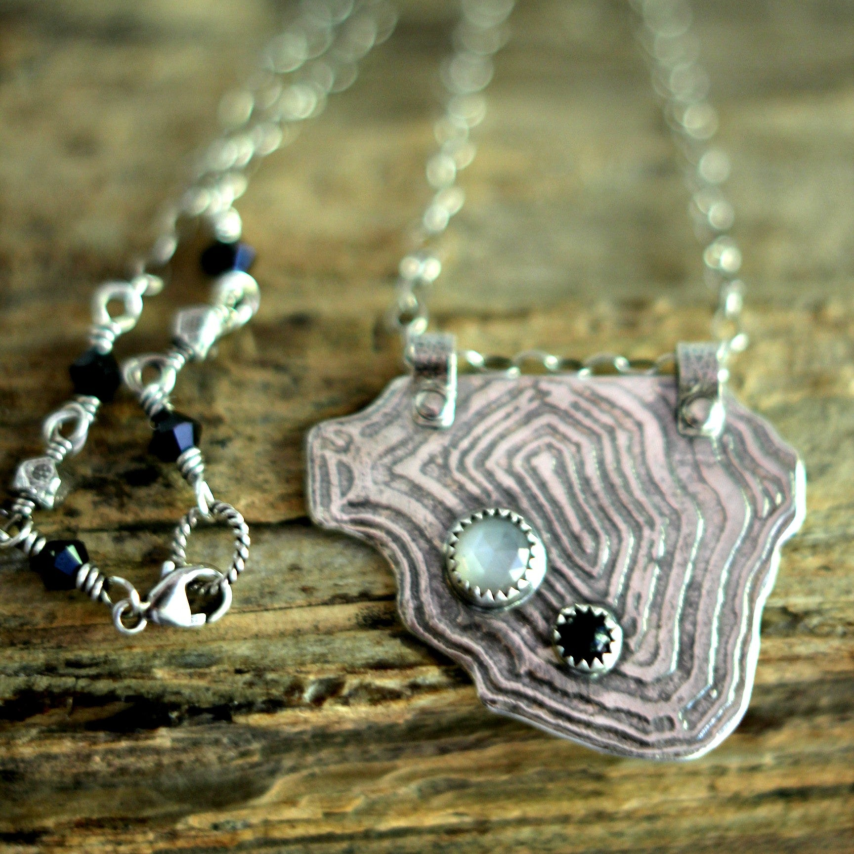 Geode Cross Section Series - Sterling Silver with Rose Cut Moonstone and Black Onyx Droplets - Verdilune