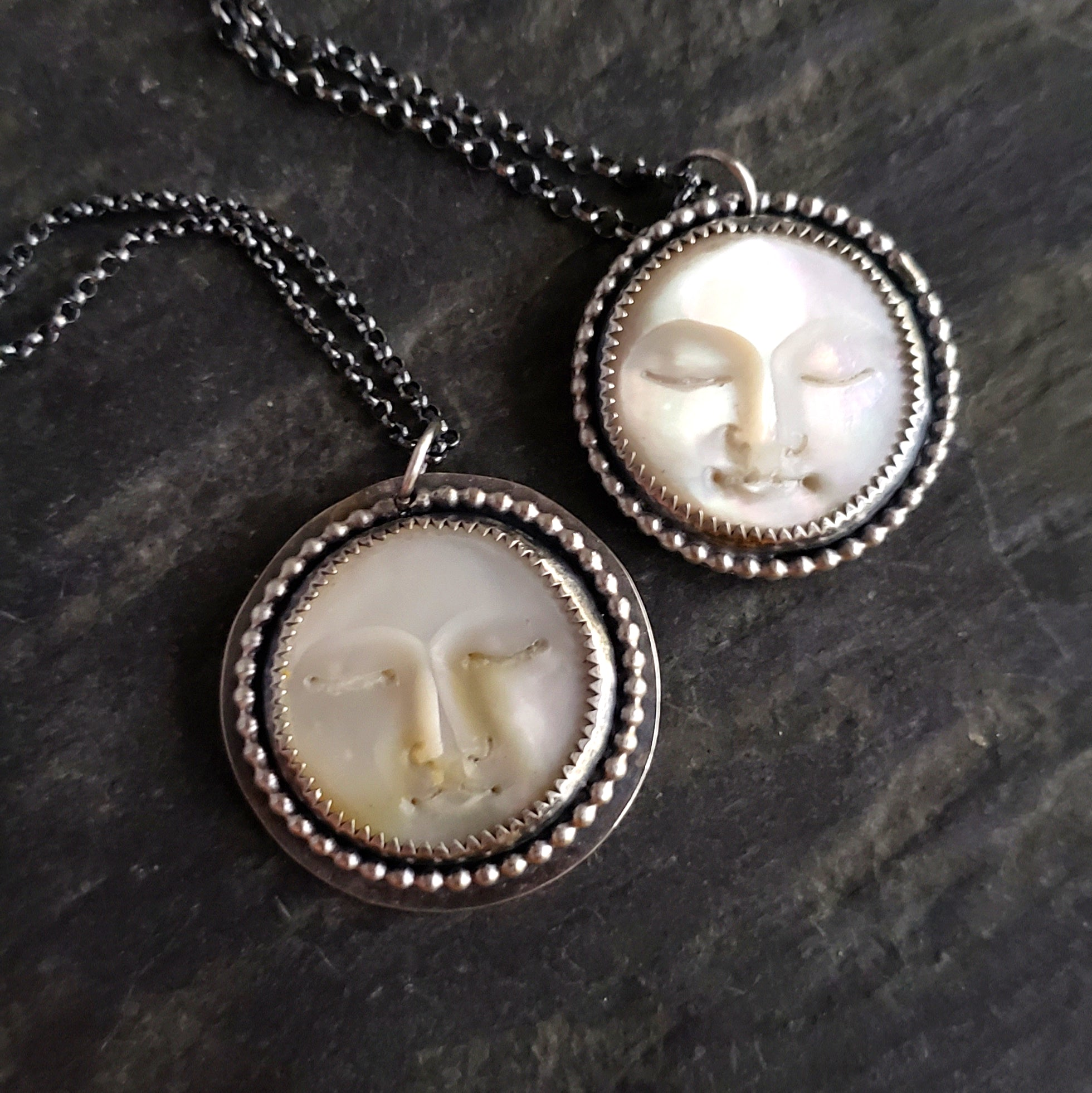 Mother of Pearl Moon Face Pendant in Sterling Silver - Verdilune