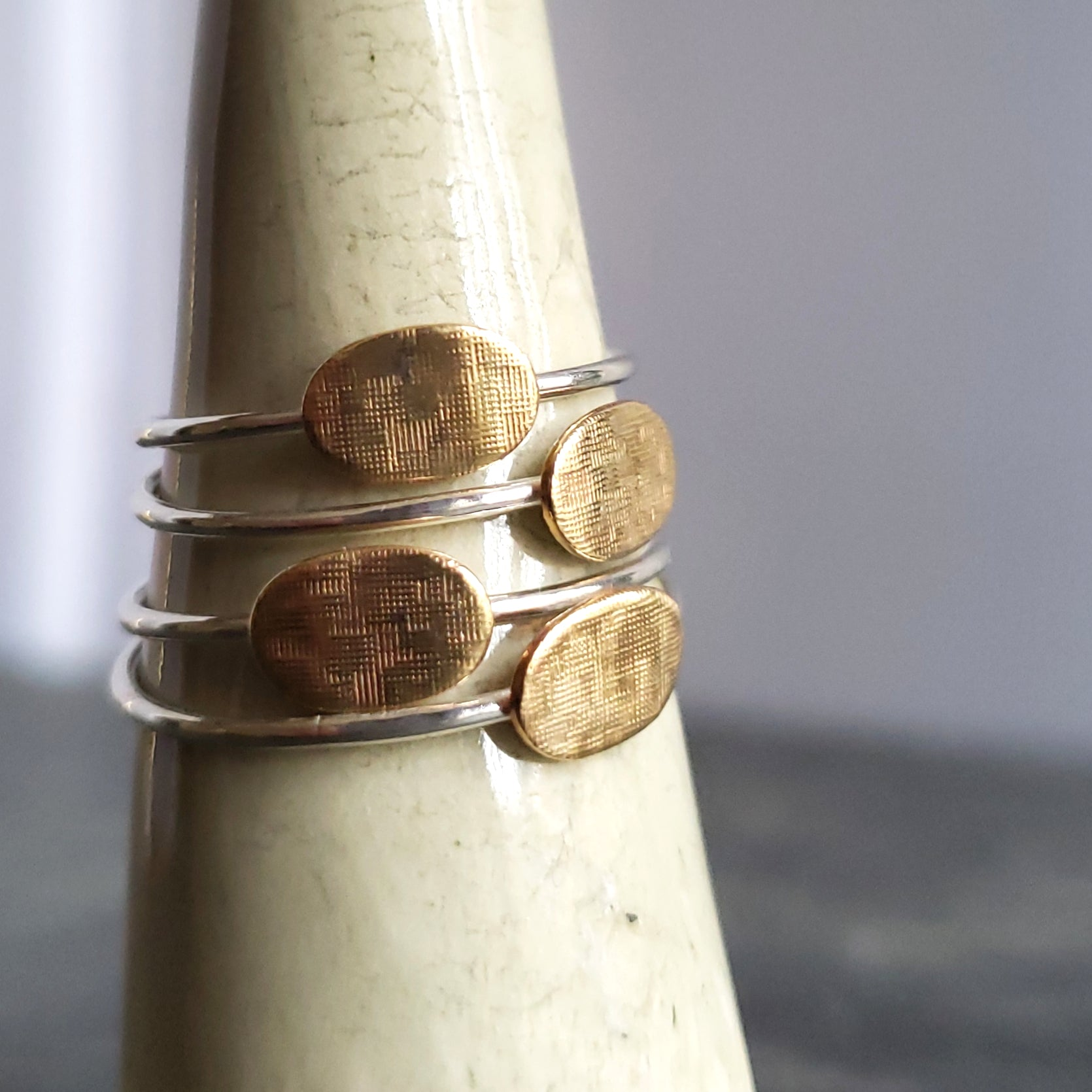 Sterling Silver Stacking Ring with Textured Copper Disc - Verdilune