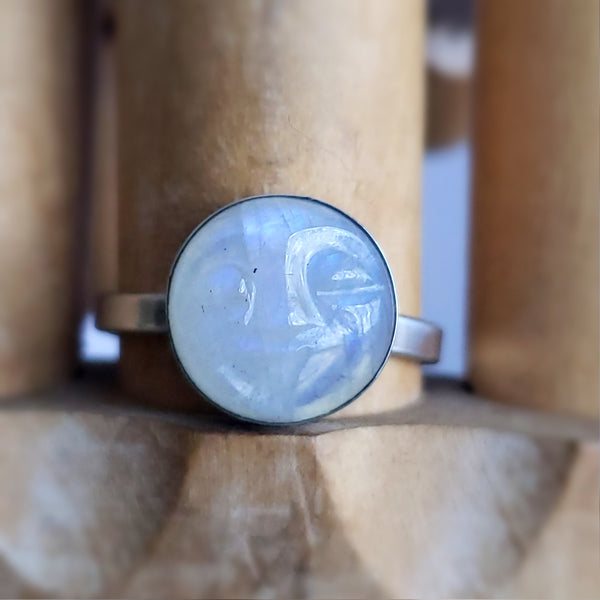 Carved Moon Face Moonstone Ring Size 8.75