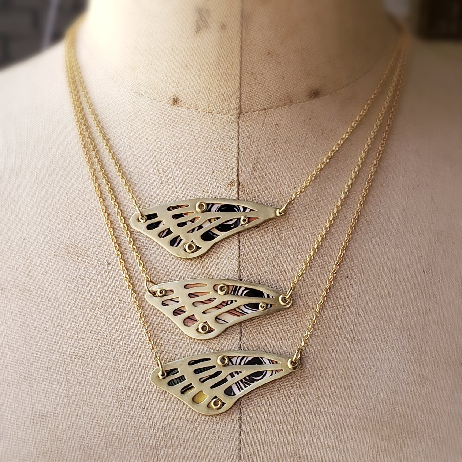Cicada Wing Necklace in Brass with Vintage Tin