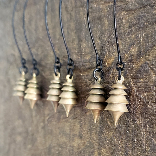 Pendulum Earrings in Raw Brass and Matte Black