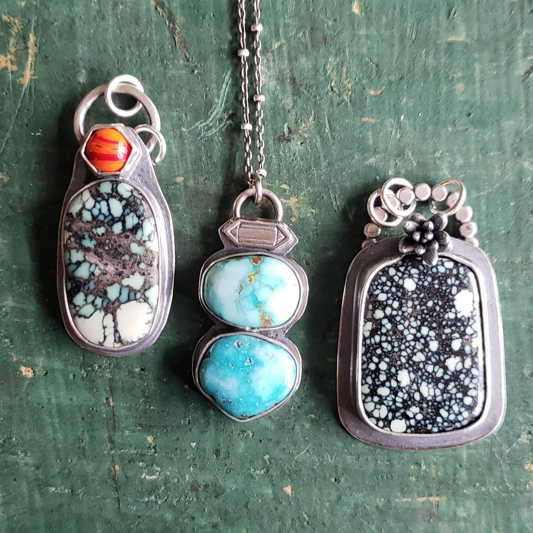 Sierra Nevada Turquoise Nuggets Pendant in Sterling Silver