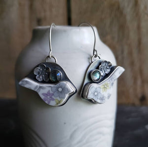 Beautifully Broken Bird Earrings - Upcycled China in Sterling Silver