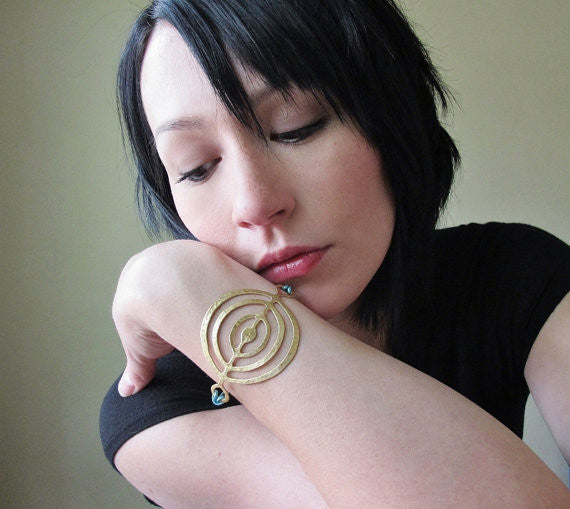 Gold Circles Bracelet in Metallic Brown Leather - Verdilune