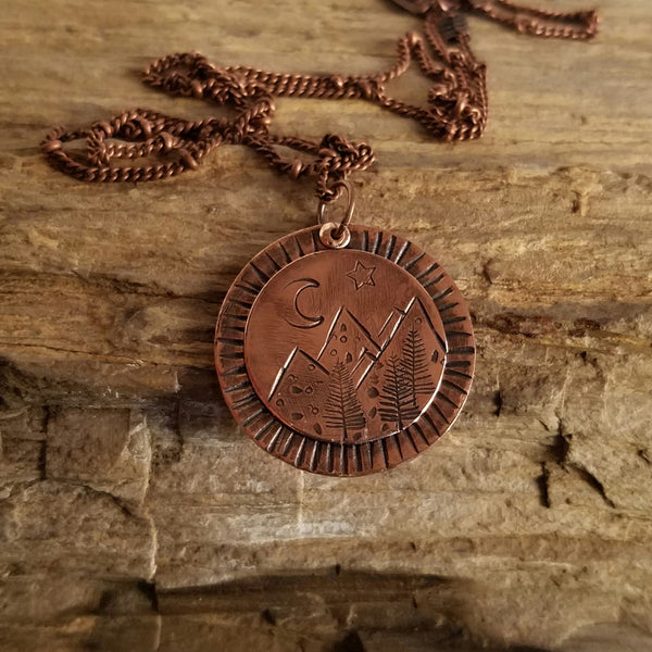 Hand Stamped Copper Mountain Range Pendant