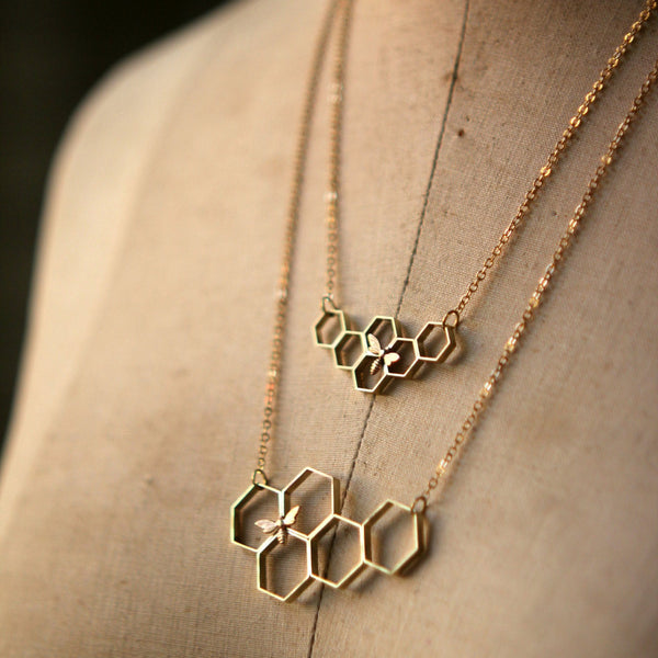 Gold Brass Honeycomb Necklace