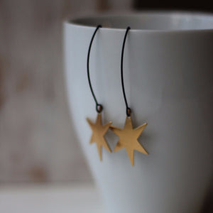 Star Burst Earrings, in Gold Brass and Matte Black - Verdilune