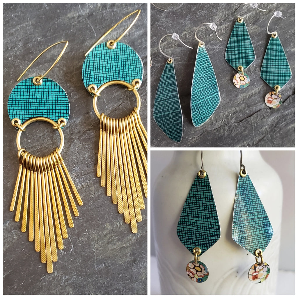 The Festive Teal Crosshatch Collection Vintage Tin Earrings