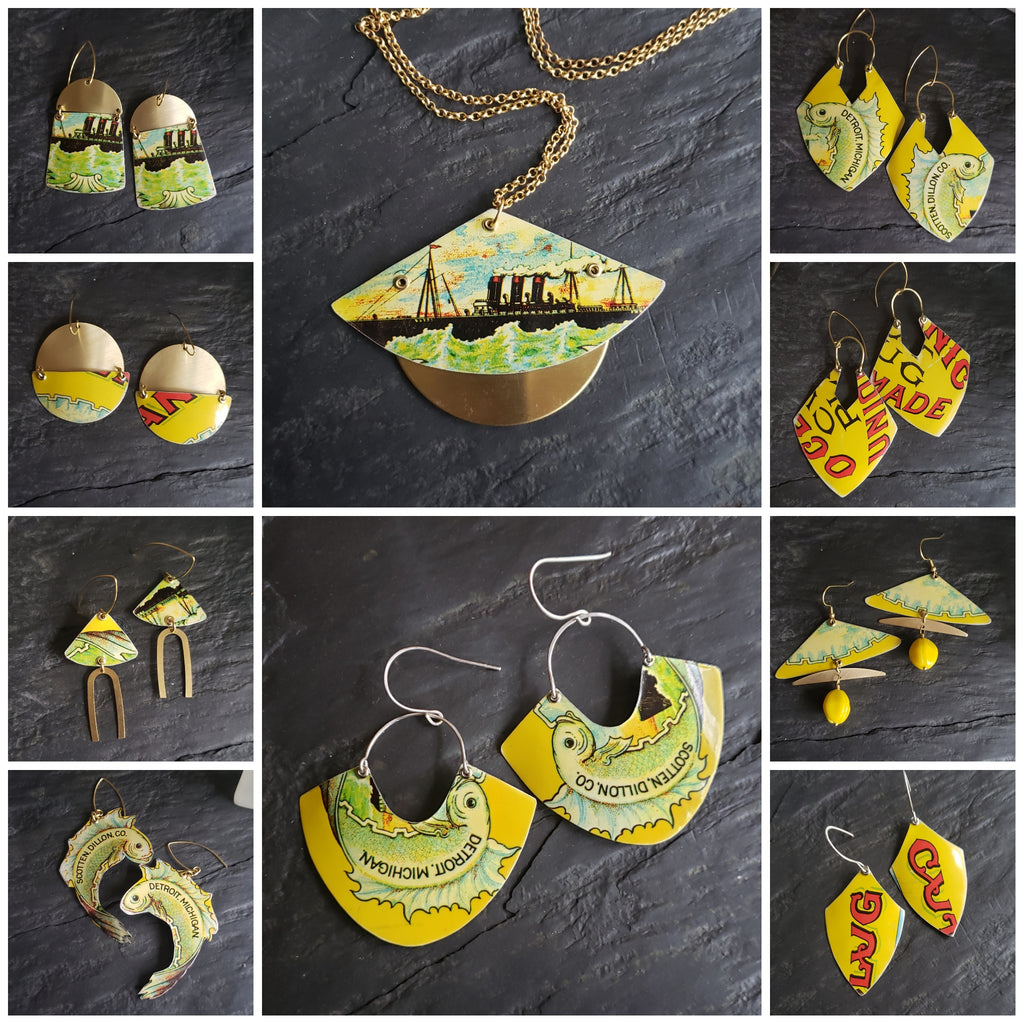 Oceanic Collection - Repurposed Vintage Tin Earrings & Pendant