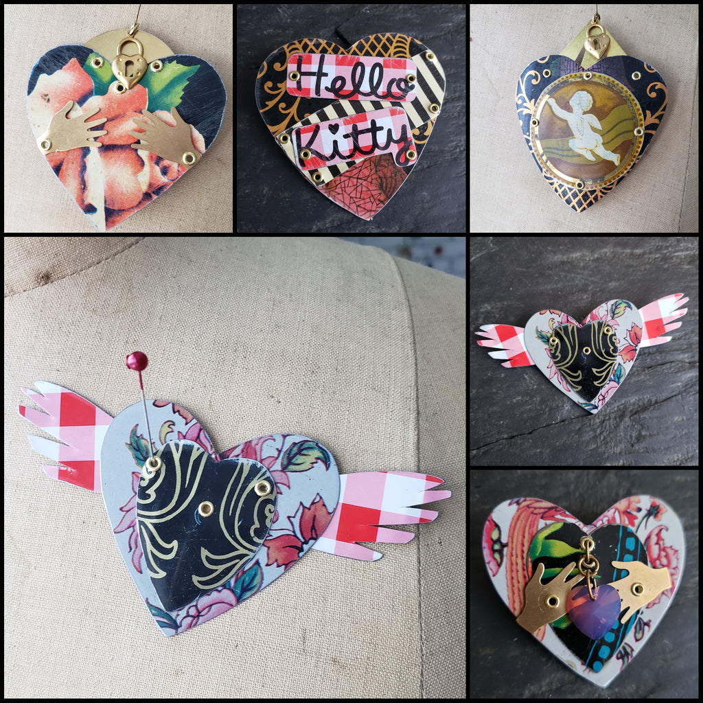 Valentine's Brooch Collection - Repurposed Vintage Tin Jewelry