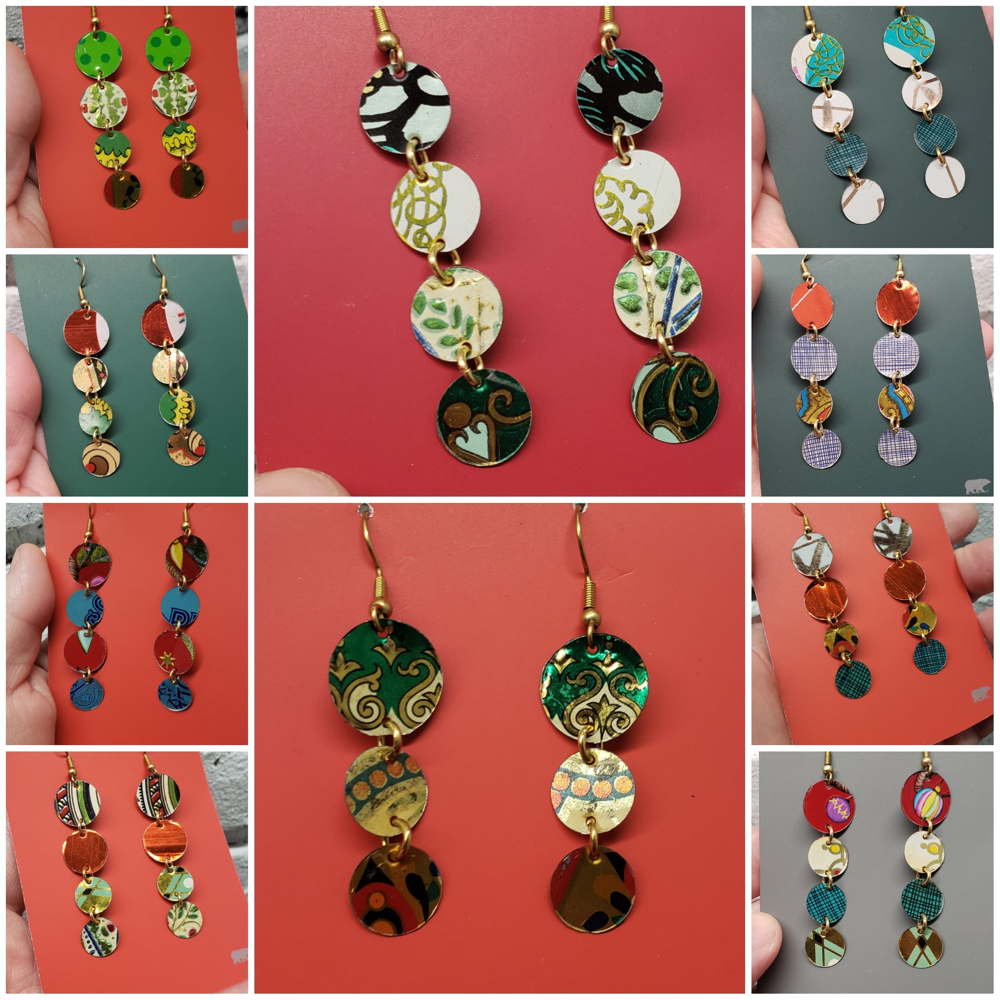 Holiday Polkadots•○° Collection - Repurposed Vintage Tin Earrings