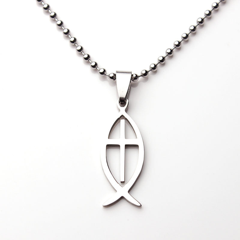 Stainless ichthys cross necklace christian designs stainless ichthys cross necklace aloadofball Images