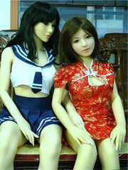 Dolly wearing her Chinese dress while hanging out with a friend