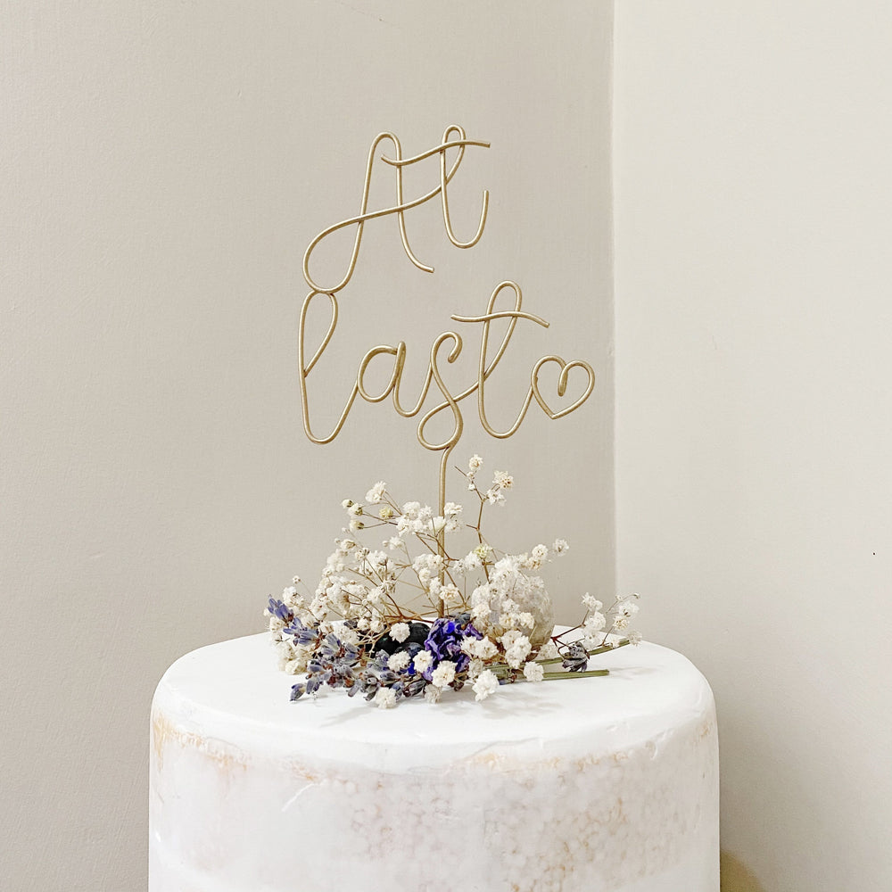 At Last Wire Wedding Cake Topper