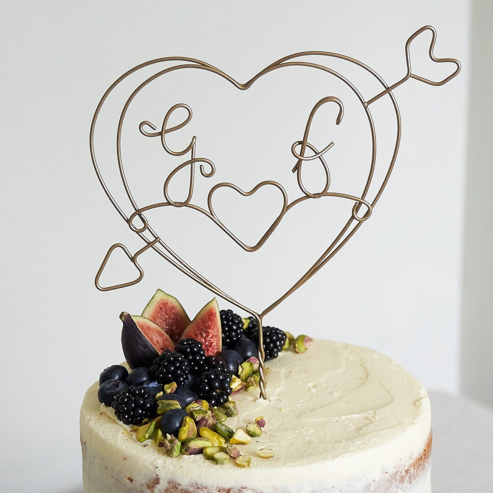 Cupid Heart Initials Wire Wedding Cake Topper