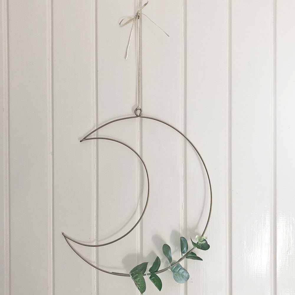 Wire Moon Wreath with Eucalyptus