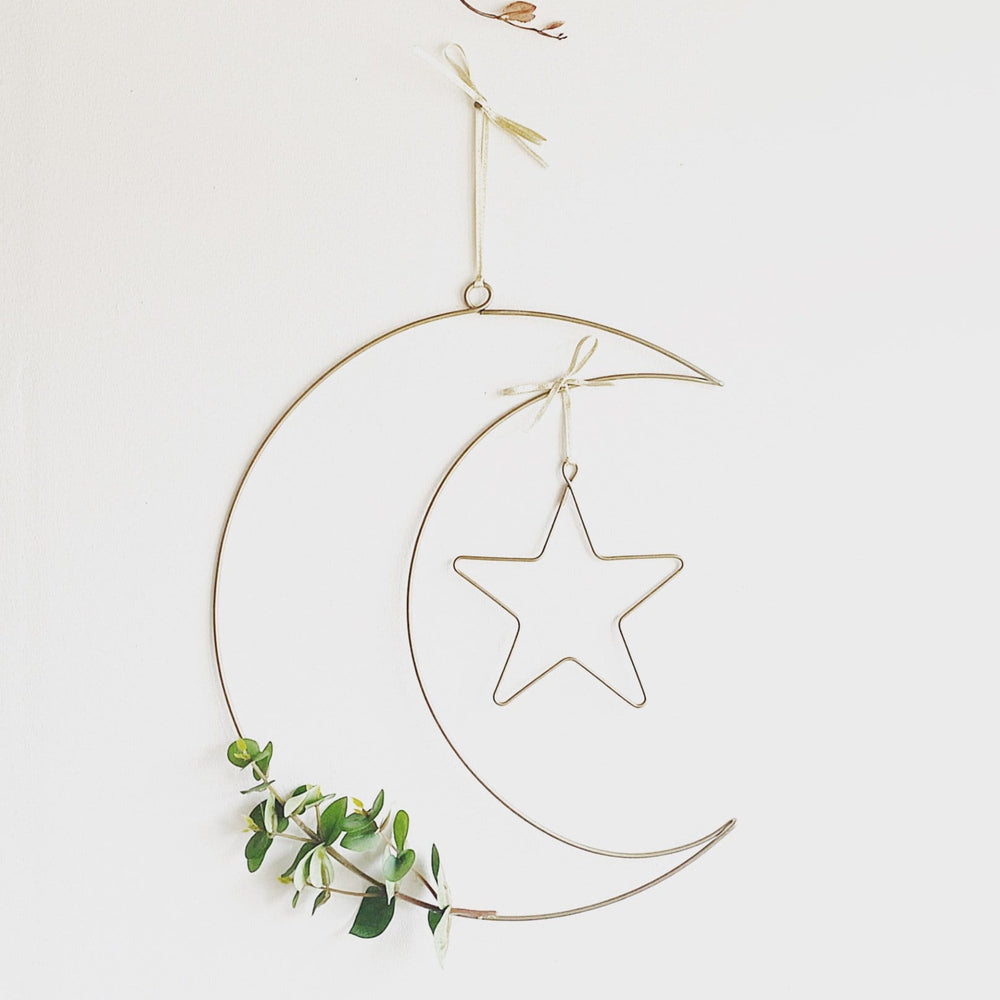 Wire Moon and Star Wreath with Eucalyptus