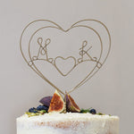 Heart Initials Wire Wedding Cake Topper