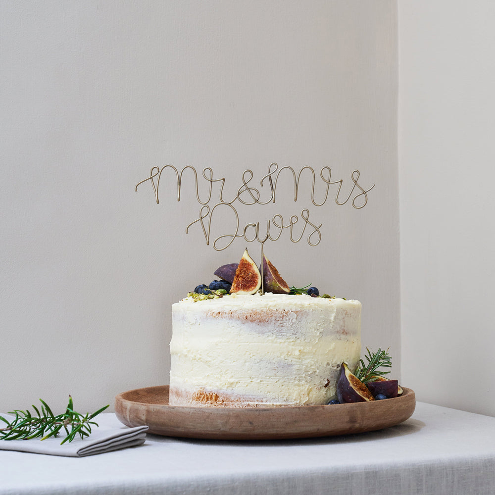 Mr and Mrs Surname Script Wire Wedding Cake Topper