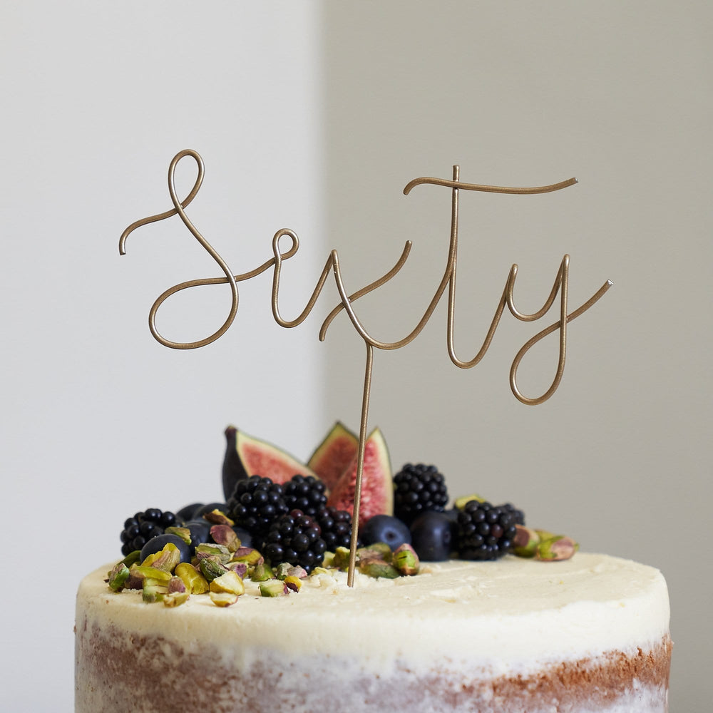 Script Sixty Birthday Cake Topper