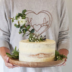 Eucalyptus and Rose Initials Cake Topper