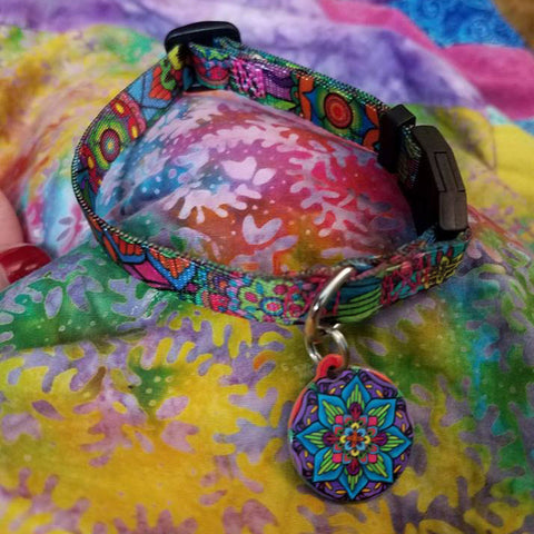 mandala cat collar with zen design for a cat or yoga kitty